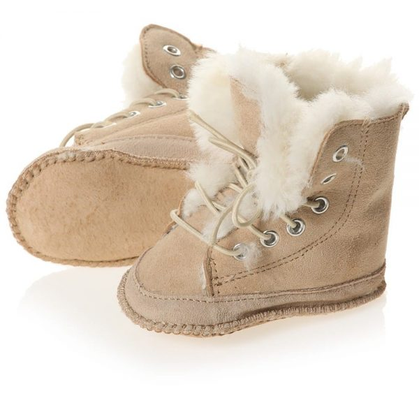 EN FANT Brown Pre-Walker Sheepskin Lace-Up Bootees