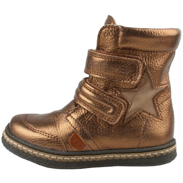 EN FANT Girls Copper Leather Ankle Boots with Velcro 1
