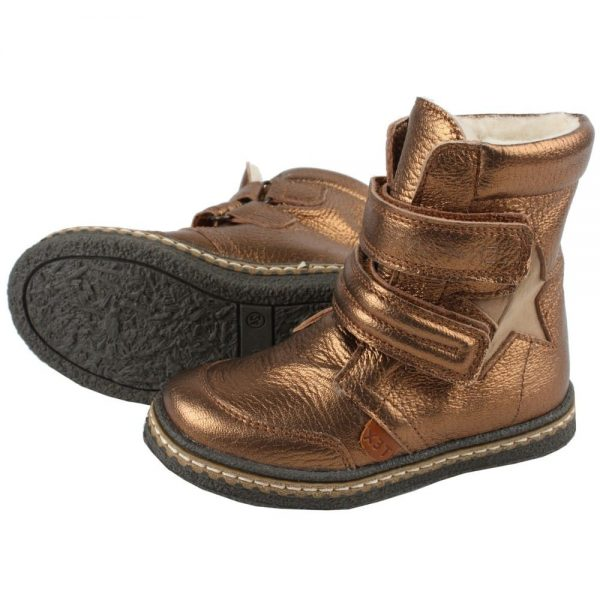 EN FANT Girls Copper Leather Ankle Boots with Velcro