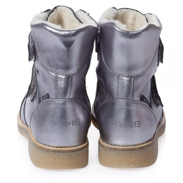 EN FANT Girls Metallic Silver Leather Boots With Fur 2