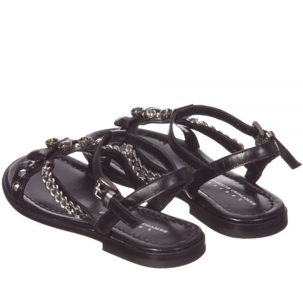 ERMANNO SCERVINO Girls Black Leather Sandals with Silver Chains 3