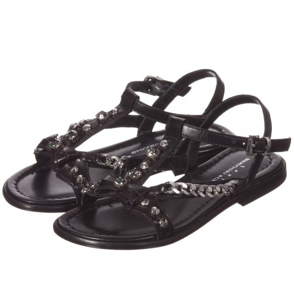 ERMANNO SCERVINO Girls Black Leather Sandals with Silver Chains