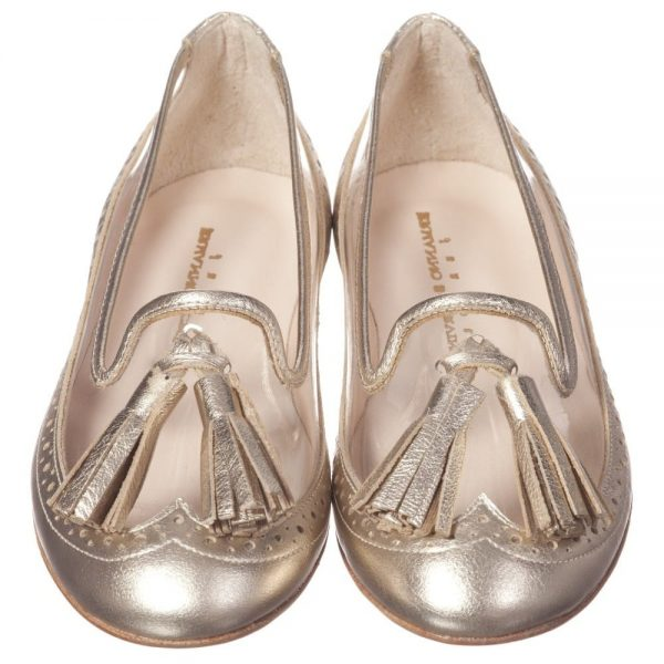 ERMANNO SCERVINO Girls Metallic Gold Leather Pumps with Tassels 1