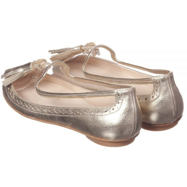 ERMANNO SCERVINO Girls Metallic Gold Leather Pumps with Tassels 4
