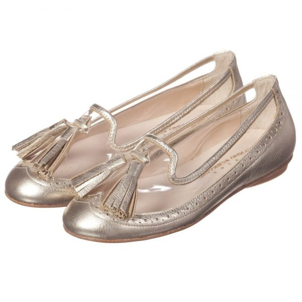 ERMANNO SCERVINO Girls Metallic Gold Leather Pumps with Tassels