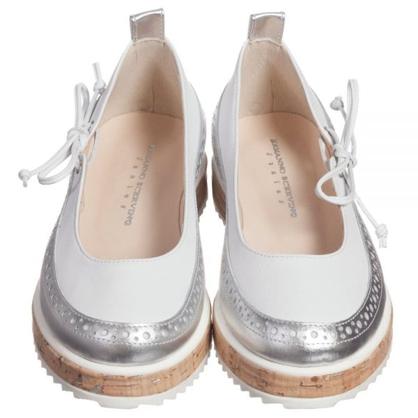 ERMANNO SCERVINO Girls Silver & White Leather Wedge Pumps 2