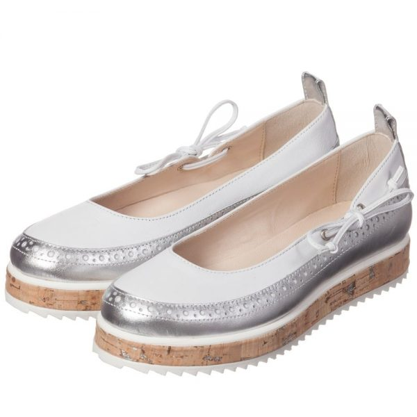 ERMANNO SCERVINO Girls Silver & White Leather Wedge Pumps