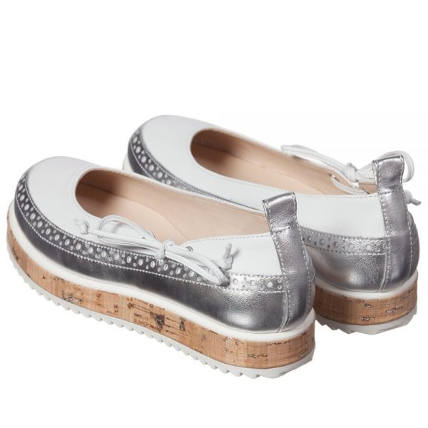 ERMANNO SCERVINO Girls Silver & White Leather Wedge Pumps1