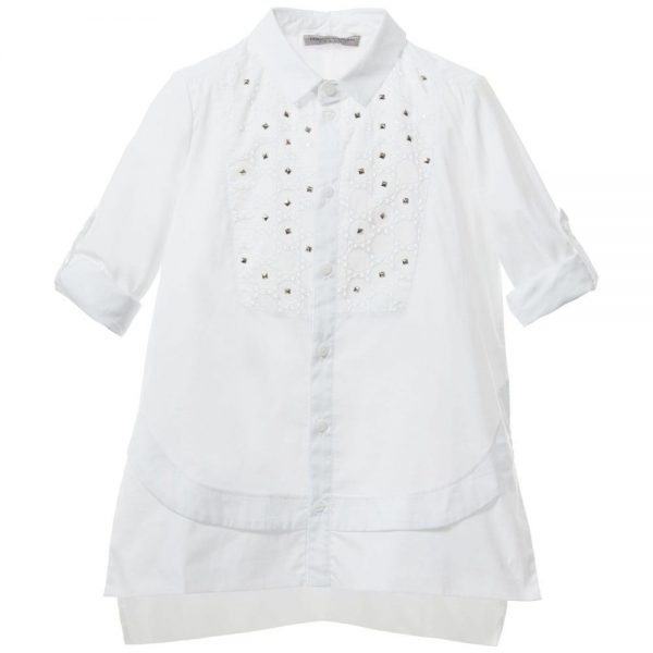 ERMANNO SCERVINO Girls White Cotton Shirt with Silver Studs 2