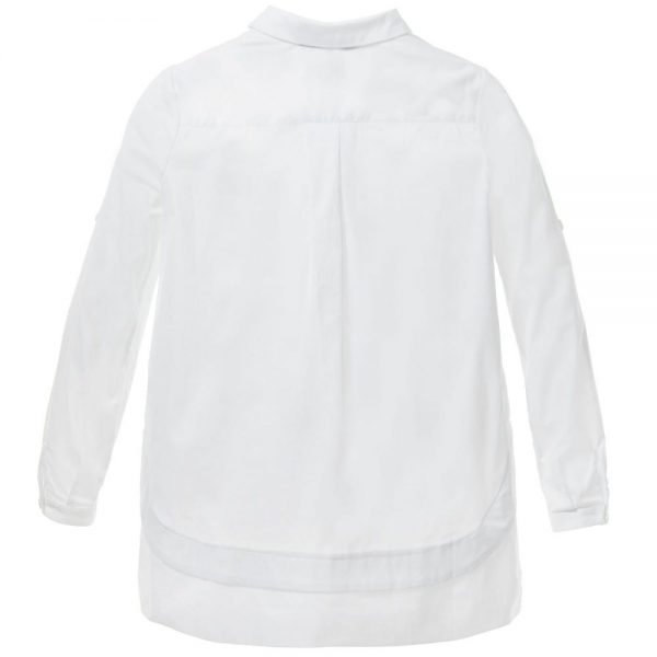 ERMANNO SCERVINO Girls White Cotton Shirt with Silver Studs 3