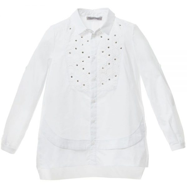 ERMANNO SCERVINO Girls White Cotton Shirt with Silver Studs