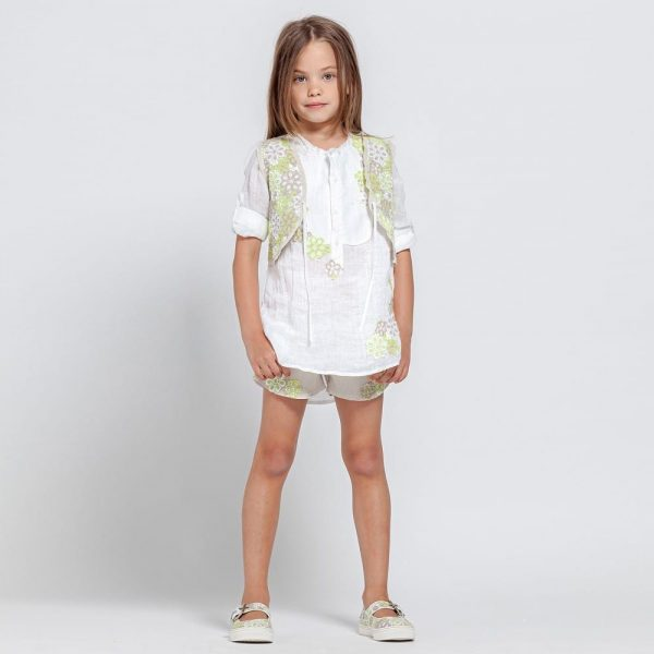 ERMANNO SCERVINO Girls White Linen Blouse with Green Flowers 1