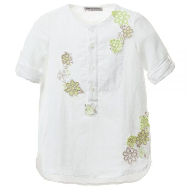 ERMANNO SCERVINO Girls White Linen Blouse with Green Flowers 2