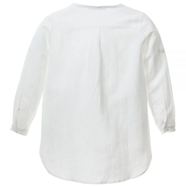 ERMANNO SCERVINO Girls White Linen Blouse with Green Flowers 32