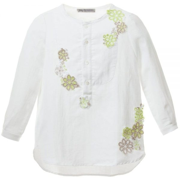 ERMANNO SCERVINO Girls White Linen Blouse with Green Flowers