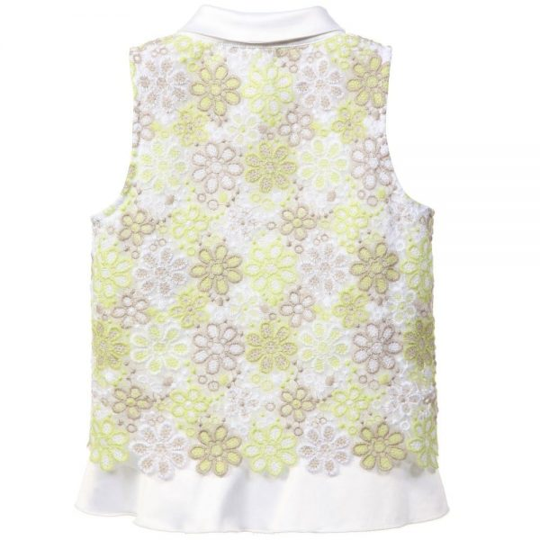 ERMANNO SCERVINO Green & White Floral Embroidered Blouse 2