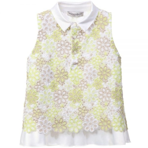 ERMANNO SCERVINO Green & White Floral Embroidered Blouse