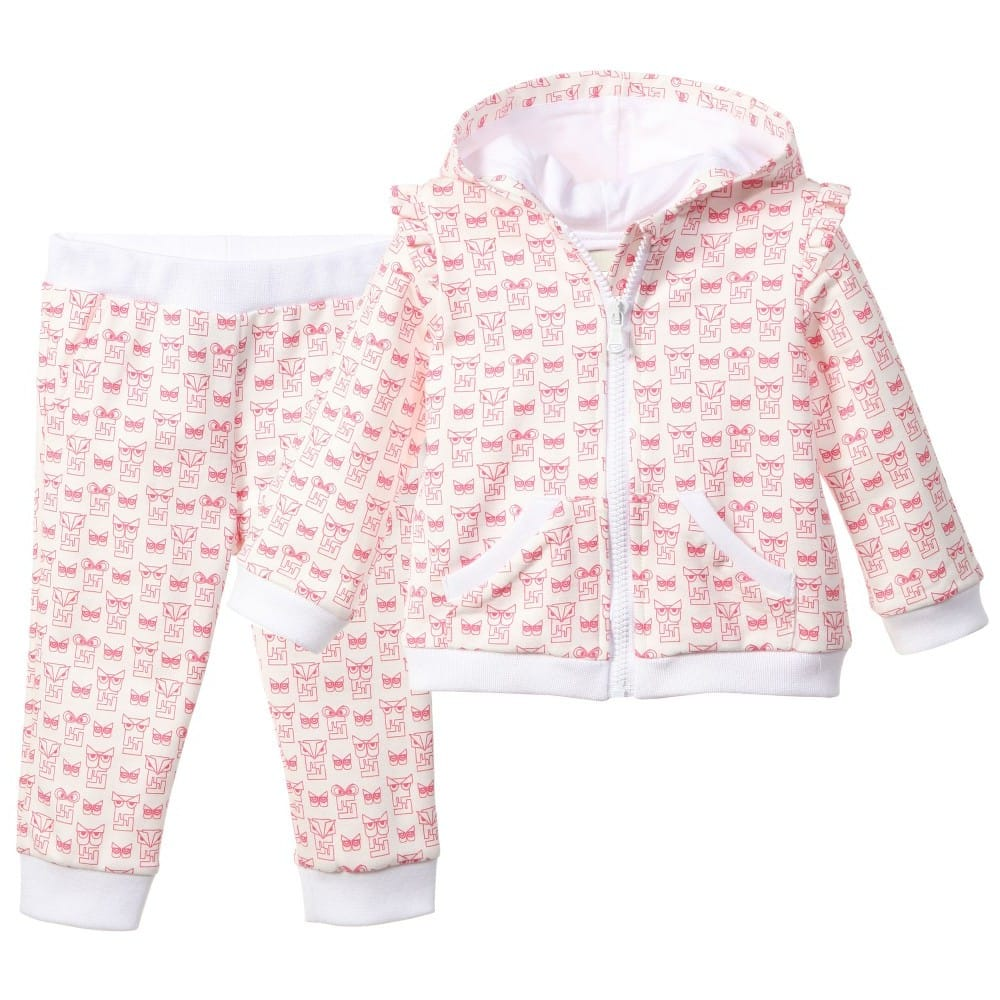 a99955ed60b6 FENDI Baby Girls Pink   Ivory Owl  FF  Tracksuit - Children Boutique