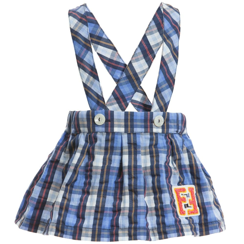 Fendi Baby Girls Blue Check 'FF' Skirt with Braces