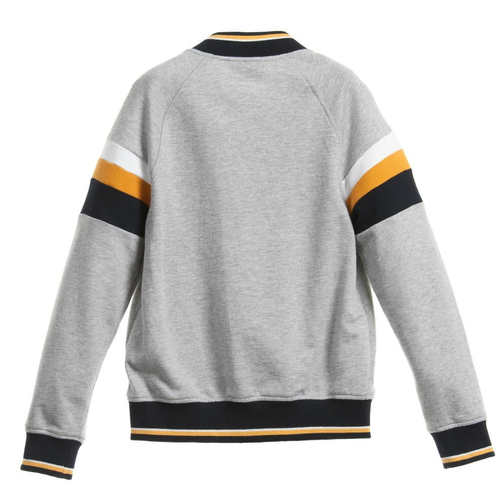 fa60eccdf85f5 FENDI Boys Grey Jersey  FF  Varsity Jacket - Children Boutique