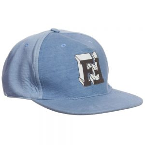 Fendi Pale Blue Cotton 'FF' Cap