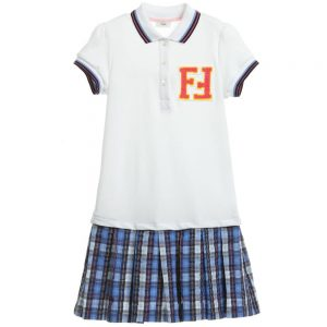 Fendi White & Blue Check 'FF' Polo Dress