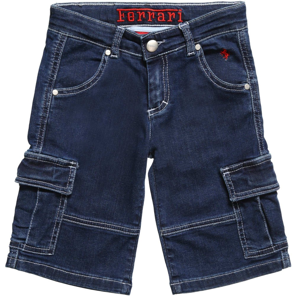 Ferrari Boys Blue Denim Cargo Shorts1