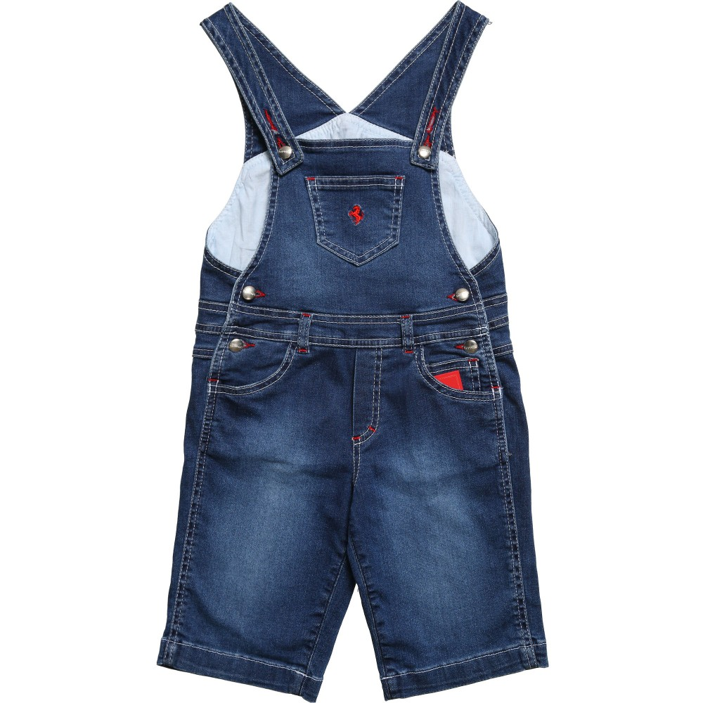Ferrari Boys Blue Denim Dungarees with Logo