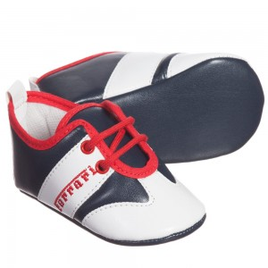 Ferrari Boys Red, White & Navy Blue Pre-Walker Trainers