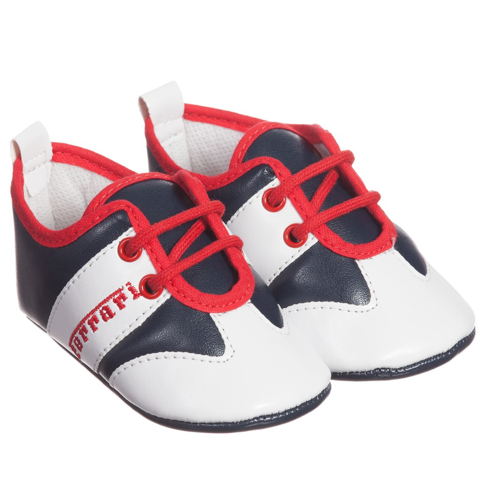 Ferrari Boys Red, White & Navy Blue Pre-Walker Trainers1