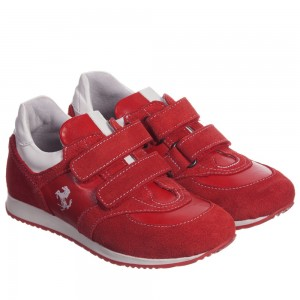 Ferrari Boys Red & White Velcro Trainers