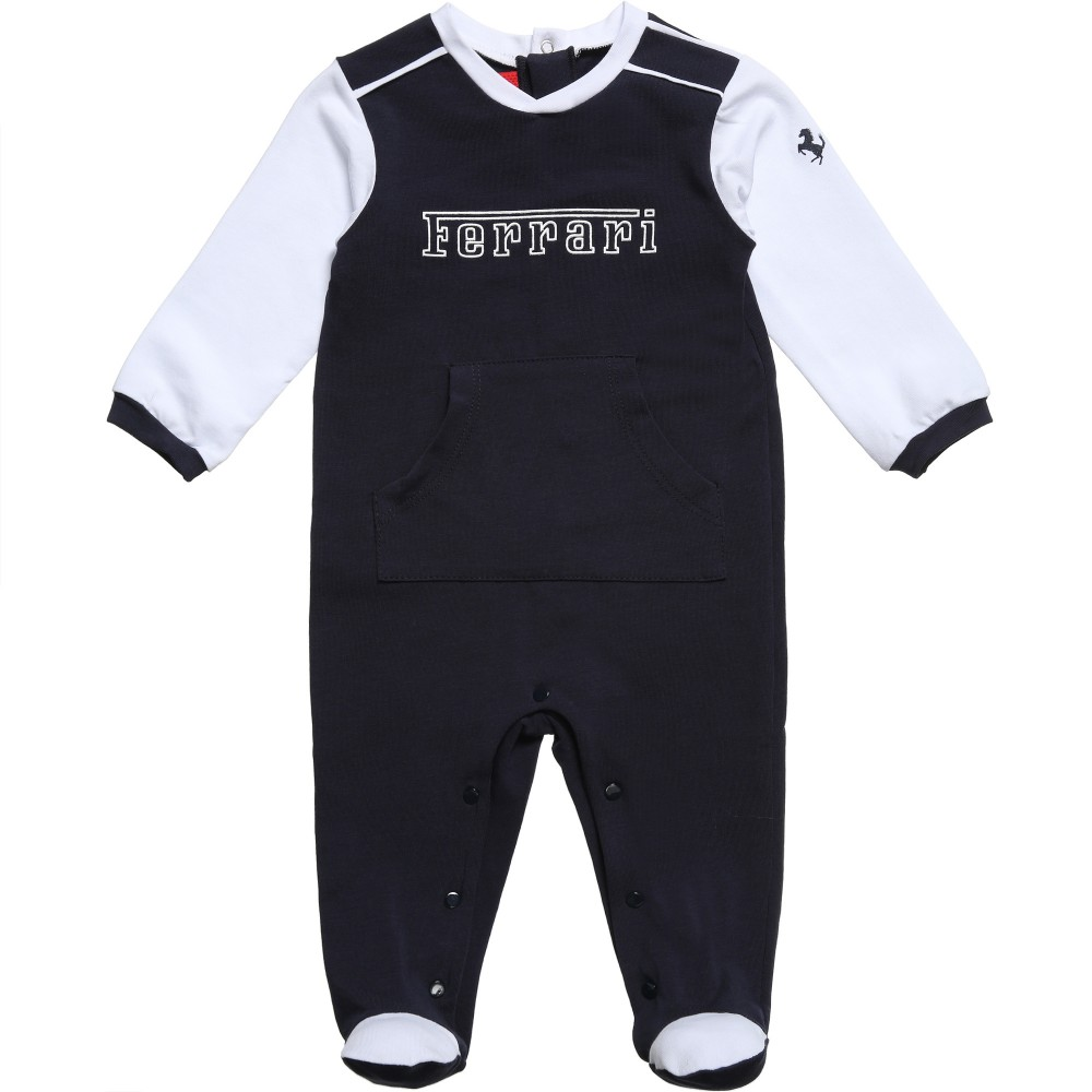 Ferrari Navy Blue & White Babygrow with Logo