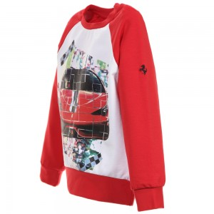 Ferrari Red & White Sports Car Sweatshirt3