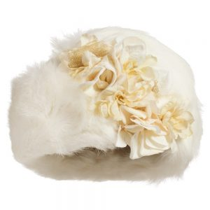 Quis Quis Girls Ivory Hat with Fur & Flowers