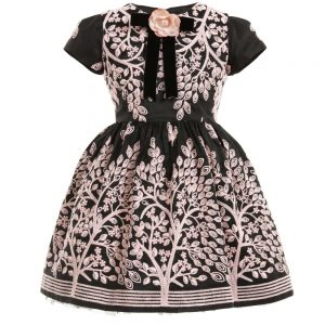 Quis Quis Black & Pink Embroidered Dress & Brooch