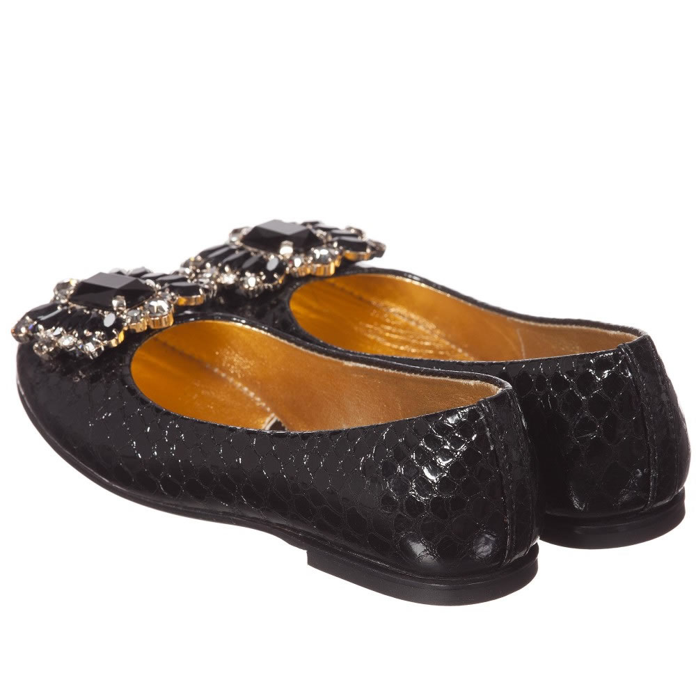 Quis Quis Girls Black Leather Shoes With Jewels