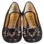 Quis Quis Girls Black Leather Shoes With Jewels1