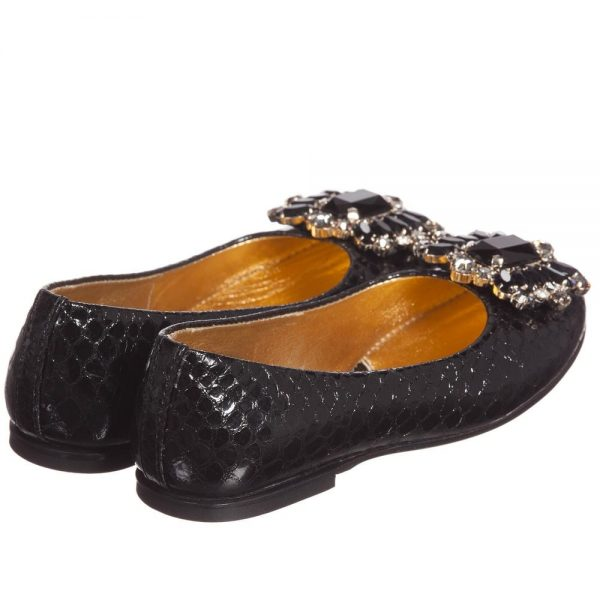 Quis Quis Girls Black Leather Shoes With Jewels2