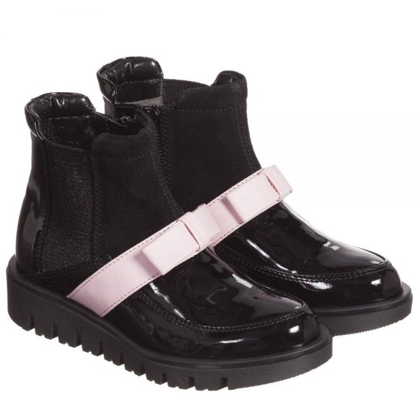 Quis Quis Girls Black Leather & Suede Boots With Pink Bow