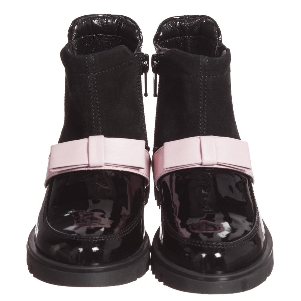 Quis Quis Girls Black Leather & Suede Boots With Pink Bow1