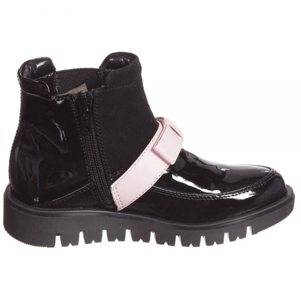 Quis Quis Girls Black Leather & Suede Boots With Pink Bow2
