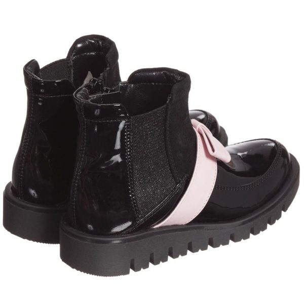 Quis Quis Girls Black Leather & Suede Boots With Pink Bow3