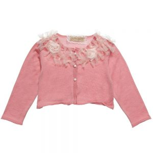 Quis Quis Girls Pink Cotton Knitted Bolero Cardigan
