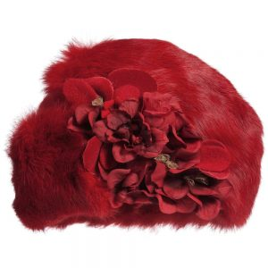 Quis Quis Girls Red Hat with Fur & Flowers