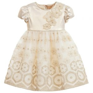 Quis Quis Gold Dress with Flowers Embroidery