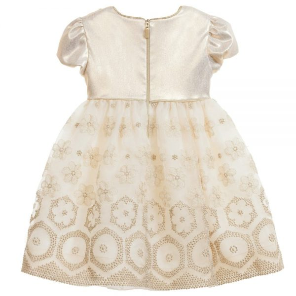 Quis Quis Gold Dress with Flowers Embroidery2