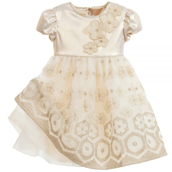 Quis Quis Gold Dress with Flowers Embroidery3