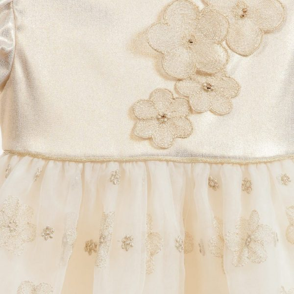 Quis Quis Gold Dress with Flowers Embroidery4