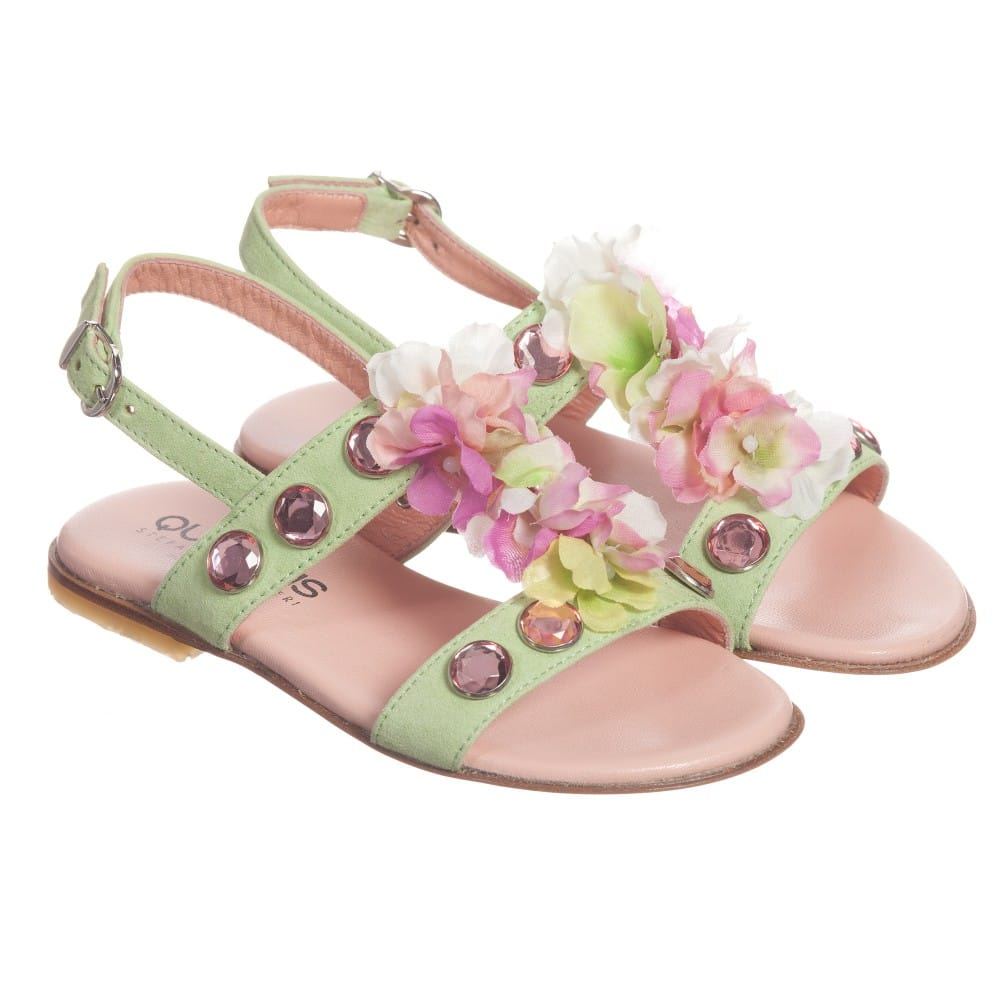 Quis Quis Green Suede Floral & Gem Sandals