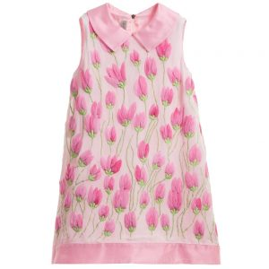 Quis Quis Pink Chiffon Dress with Embroidered Tulips